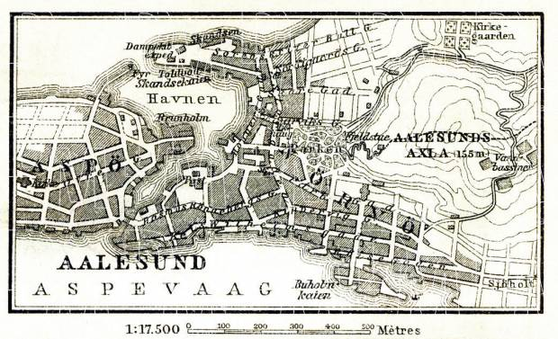 Aalesund (Ålesund) town plan, 1911. Use the zooming tool to explore in higher level of detail. Obtain as a quality print or high resolution image