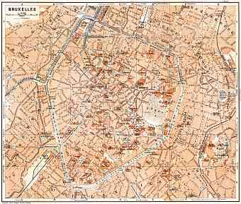 Brussels (Brussel, Bruxelles) city map, 1904