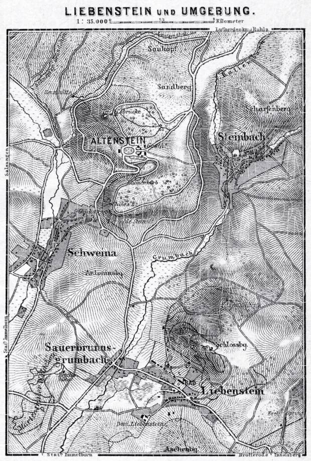 Liebenstein and environs map, 1887. Use the zooming tool to explore in higher level of detail. Obtain as a quality print or high resolution image