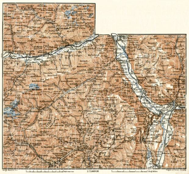 Bolzano (Bozen), western environs map, 1906. Use the zooming tool to explore in higher level of detail. Obtain as a quality print or high resolution image
