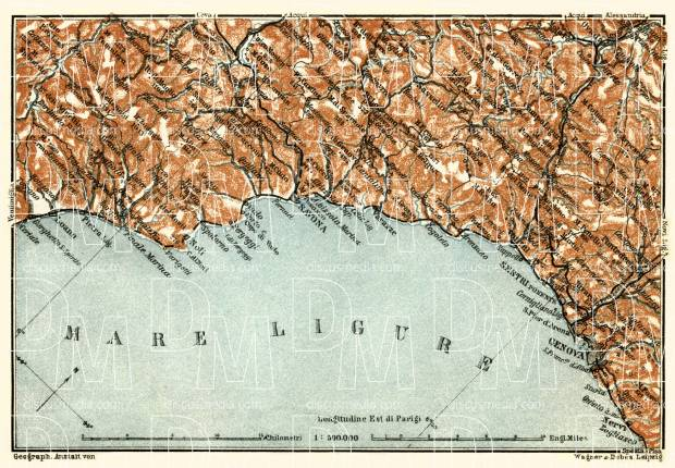 Italian Genoese Riviera (Riviére) from Savona to Genoa map, 1913. Use the zooming tool to explore in higher level of detail. Obtain as a quality print or high resolution image