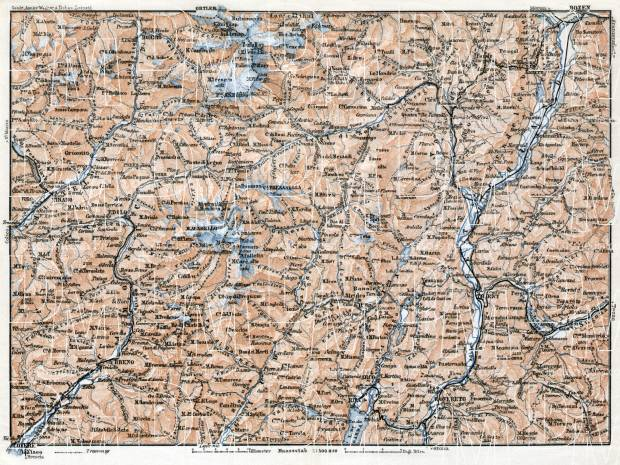 Adamello, Presanella and Brenta Alps district map, 1910. Use the zooming tool to explore in higher level of detail. Obtain as a quality print or high resolution image