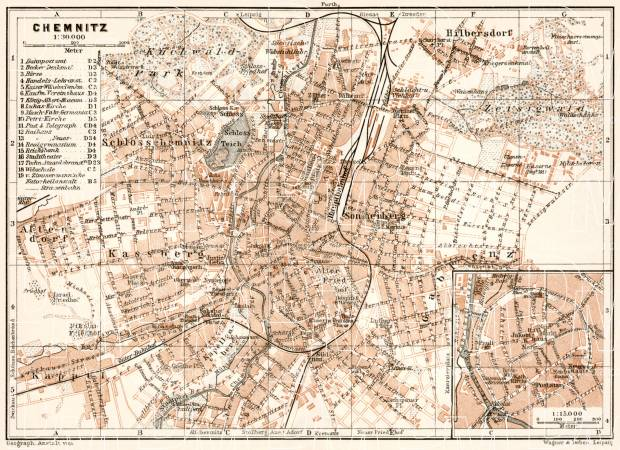 Chemnitz city map, 1911. Use the zooming tool to explore in higher level of detail. Obtain as a quality print or high resolution image