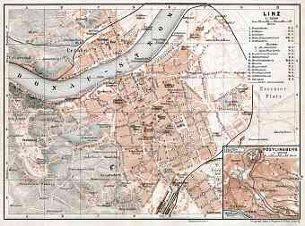 Linz city map with map inset of Pöstlingberg, 1910