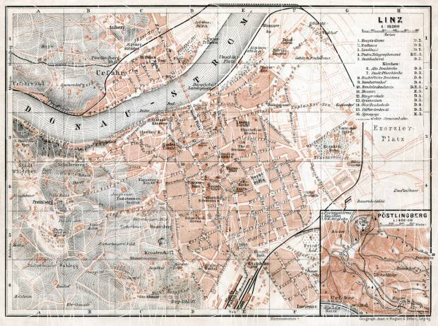 Linz city map with map inset of Pöstlingberg, 1910. Use the zooming tool to explore in higher level of detail. Obtain as a quality print or high resolution image