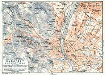 Budapest and its environs map, 1913