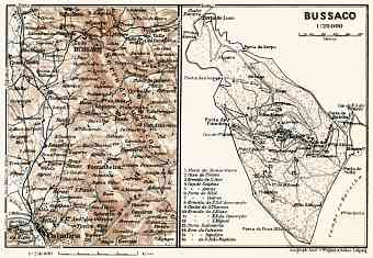 Bussaco district map, 1913. Environs of Bussaco and Coimbra