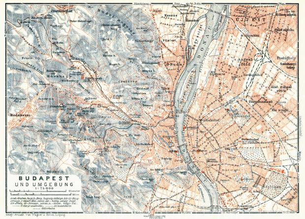 Budapest and its environs map, 1913. Use the zooming tool to explore in higher level of detail. Obtain as a quality print or high resolution image