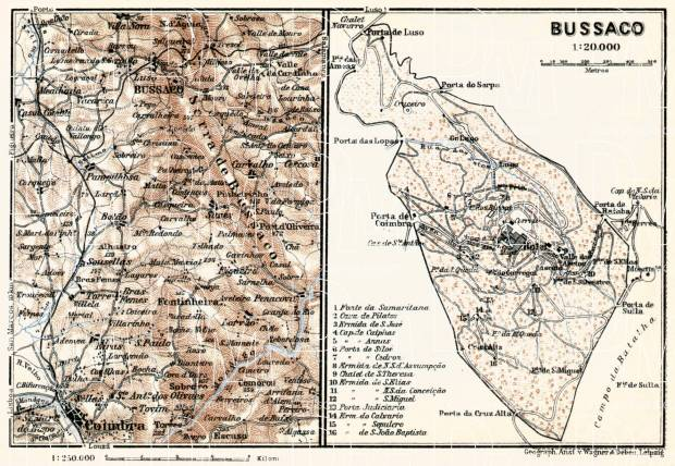 Bussaco district map, 1913. Environs of Bussaco and Coimbra. Use the zooming tool to explore in higher level of detail. Obtain as a quality print or high resolution image