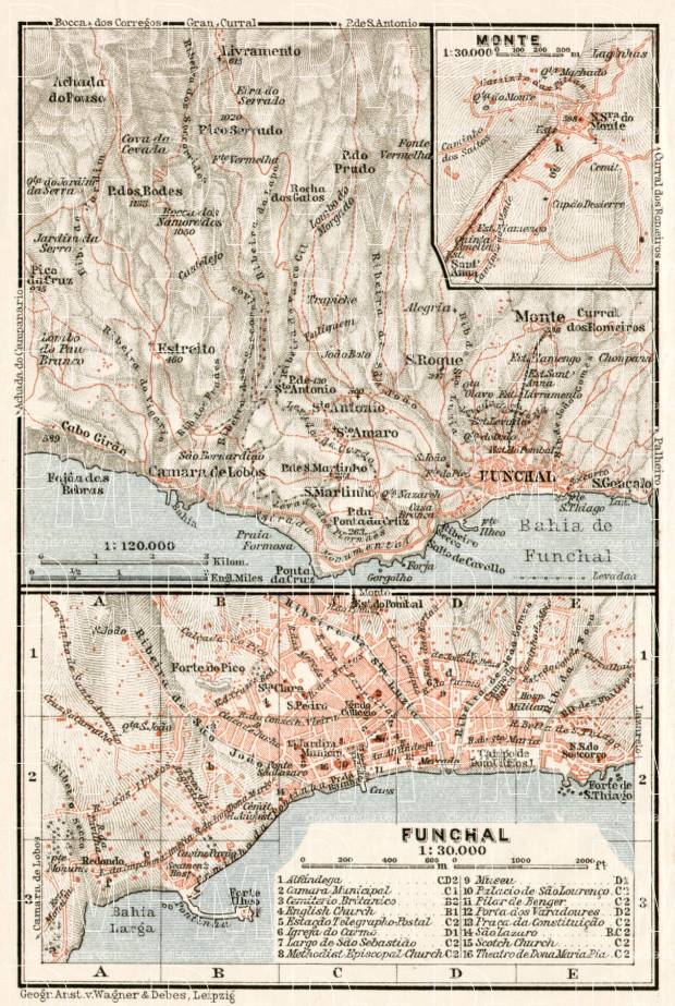 Funchal and environs map, 1911. Use the zooming tool to explore in higher level of detail. Obtain as a quality print or high resolution image