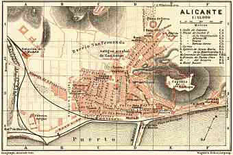Alicante city map, 1899