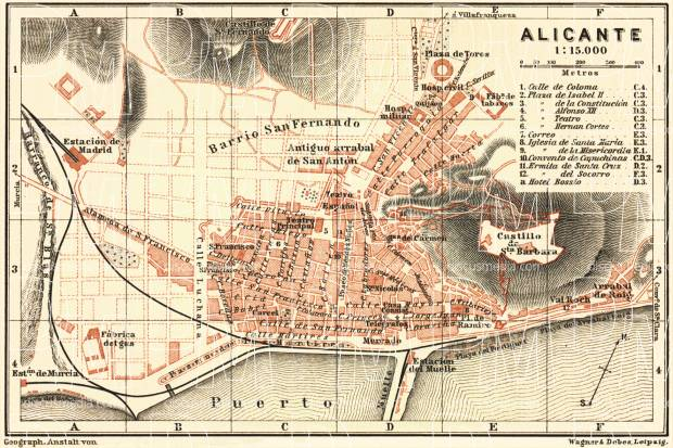 Alicante city map, 1899. Use the zooming tool to explore in higher level of detail. Obtain as a quality print or high resolution image