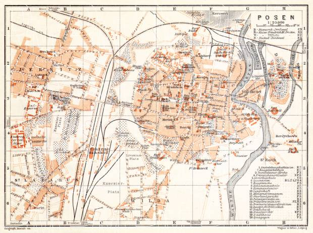 Poznań (Posen) city map, 1911. Use the zooming tool to explore in higher level of detail. Obtain as a quality print or high resolution image