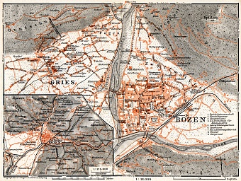 Bolzano (Bozen) and Gries, towns´ map. Environs of Bolzano/Gries map, 1911