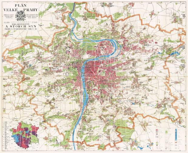 Prague (Praha) city map, 1939. Use the zooming tool to explore in higher level of detail. Obtain as a quality print or high resolution image