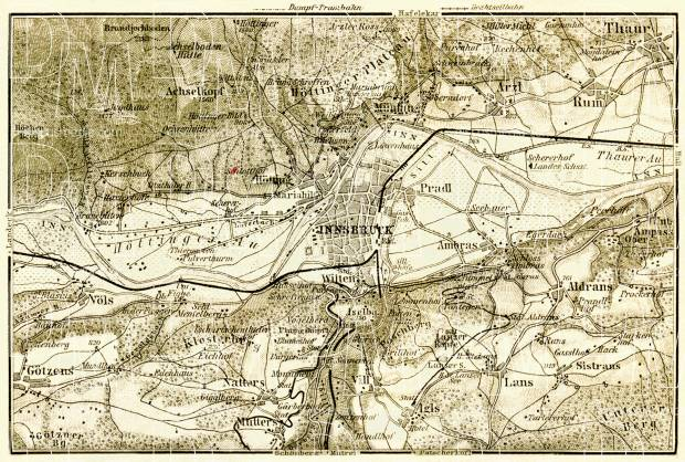 Innsbruck environs map, 1906. Use the zooming tool to explore in higher level of detail. Obtain as a quality print or high resolution image