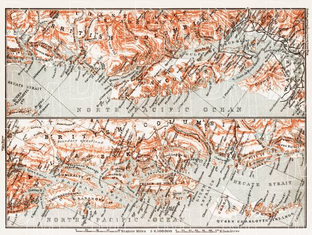 Map of the Coast of British Columbia and Alaska, 1907. Use the zooming tool to explore in higher level of detail. Obtain as a quality print or high resolution image