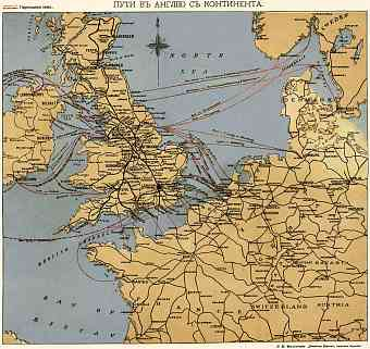 Map of the Water Connections to Great Britain from Continent, 1900