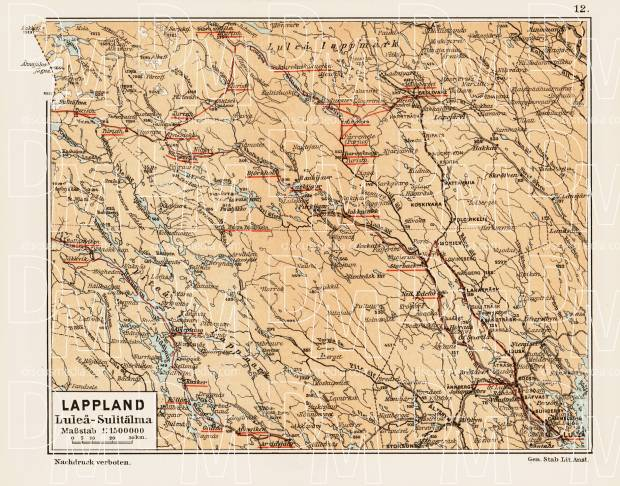 Lappland map. Luleå - Sulitälma, 1899. Use the zooming tool to explore in higher level of detail. Obtain as a quality print or high resolution image