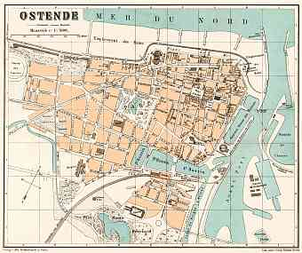 Ostend (Ostende) city map, 1908