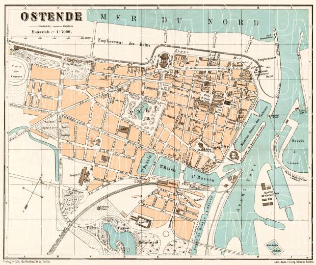 Ostend (Ostende) city map, 1908. Use the zooming tool to explore in higher level of detail. Obtain as a quality print or high resolution image