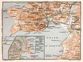 Ajaccio and environs map, 1902