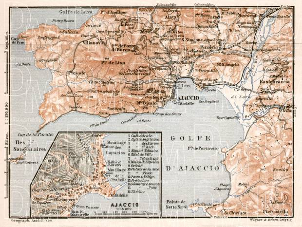 Ajaccio and environs map, 1902. Use the zooming tool to explore in higher level of detail. Obtain as a quality print or high resolution image