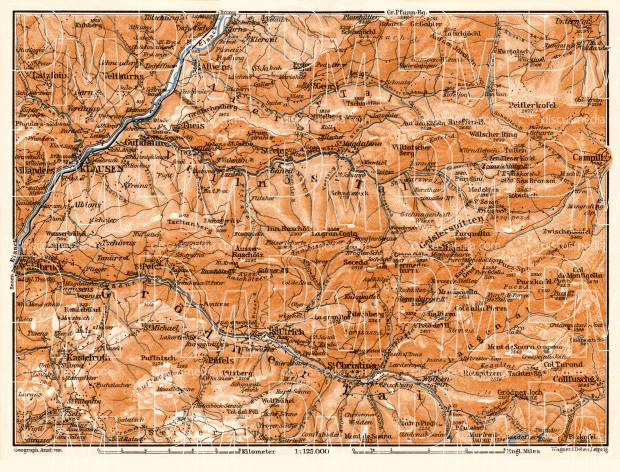 Grödner and Villnös Valleys map, 1906. Use the zooming tool to explore in higher level of detail. Obtain as a quality print or high resolution image