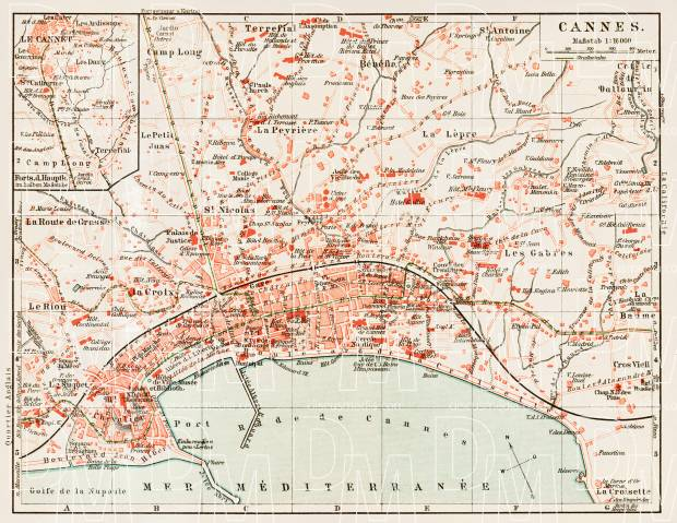 Old map of Cannes in 1913 Buy vintage map replica poster print or