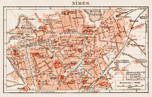 Old map of Nîmes in 1913. Buy vintage map replica poster print or ...