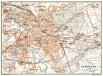 Hannover city map, 1906