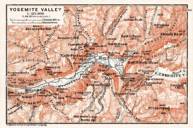Map of the Yosemite Valley, 1909. Use the zooming tool to explore in higher level of detail. Obtain as a quality print or high resolution image