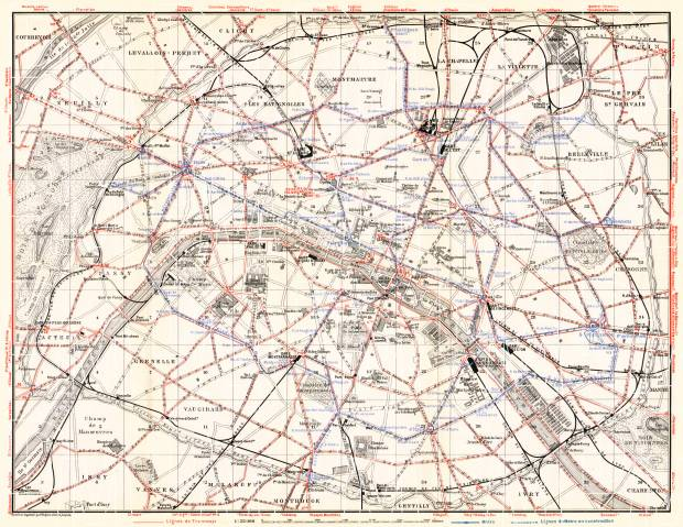 Old map of Paris with tramway and Metro routes and lines in 1910