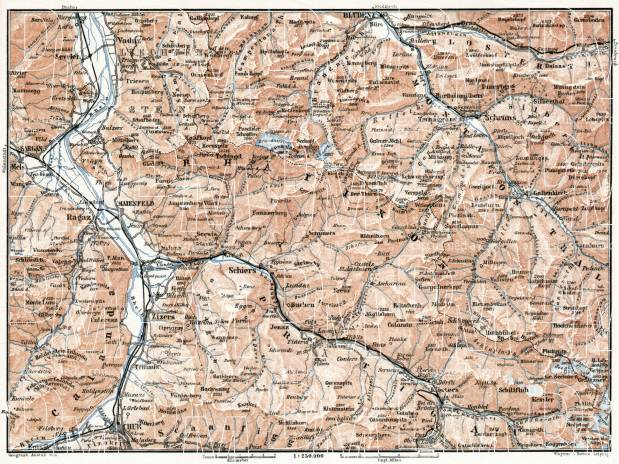 Prätigau and Montafon valleys map, 1909. Use the zooming tool to explore in higher level of detail. Obtain as a quality print or high resolution image