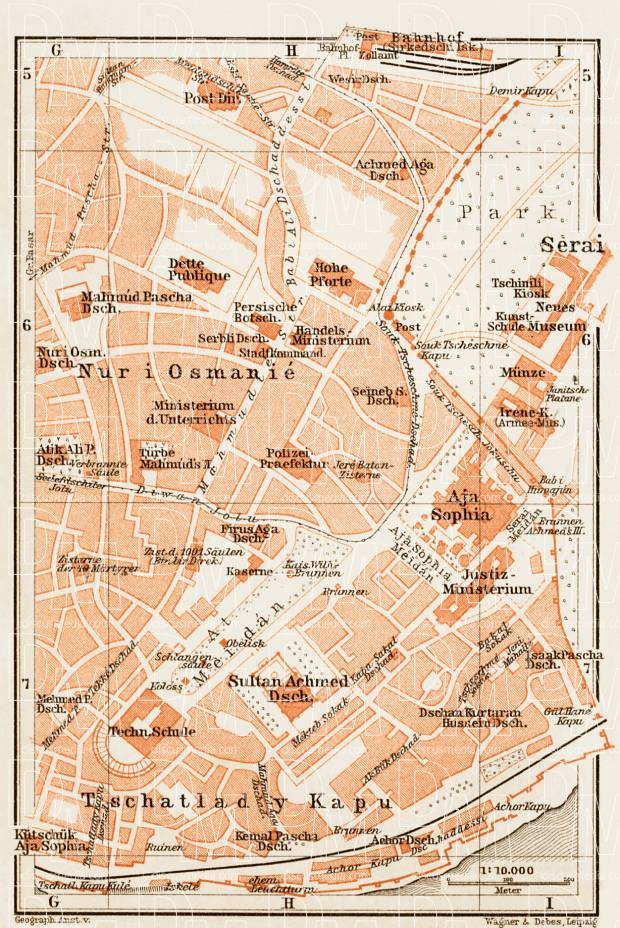 Constantionople (قسطنطينيه, İstanbul, Istanbul): Sultanahmet District Map, 1914. Use the zooming tool to explore in higher level of detail. Obtain as a quality print or high resolution image