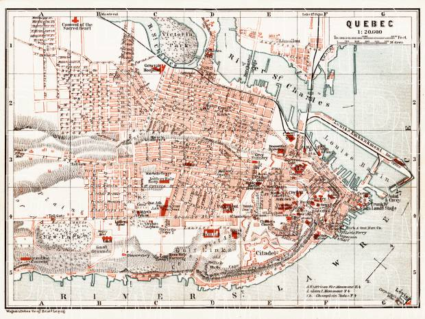 Quebec city map, 1907. Use the zooming tool to explore in higher level of detail. Obtain as a quality print or high resolution image