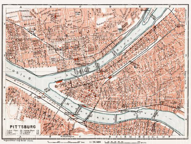Pittsburg (Pittsburgh) city map, 1909. Use the zooming tool to explore in higher level of detail. Obtain as a quality print or high resolution image