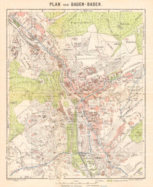 Old map of BadenBaden in 1927 Buy vintage map replica poster print