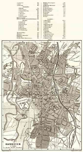 Hannover city map, 1887