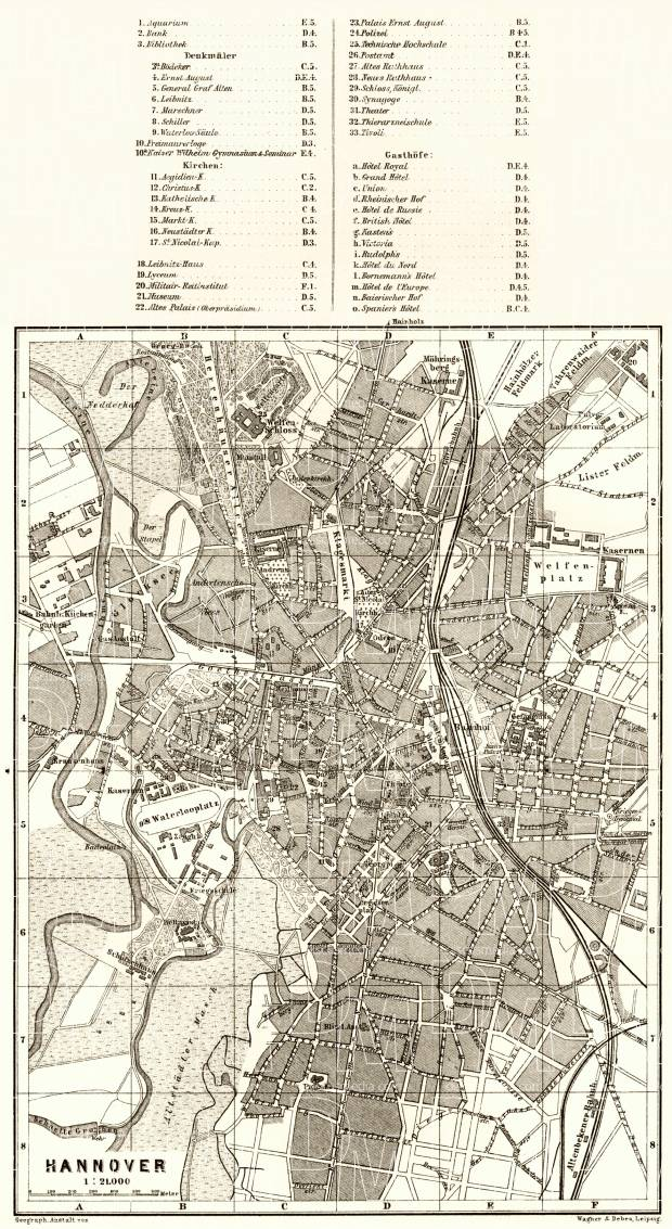 Hannover city map, 1887. Use the zooming tool to explore in higher level of detail. Obtain as a quality print or high resolution image