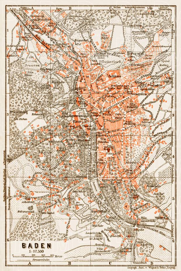 Old map of Baden in 1909 Buy vintage map replica poster print or