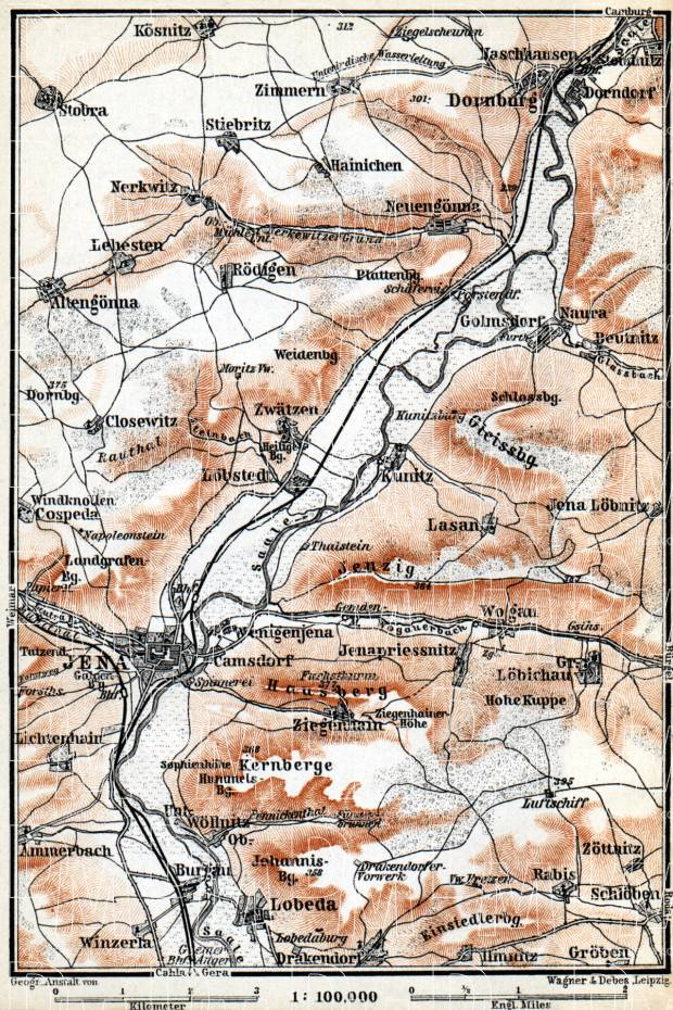Jena and the River Saale Valley environs map, 1887. Use the zooming tool to explore in higher level of detail. Obtain as a quality print or high resolution image