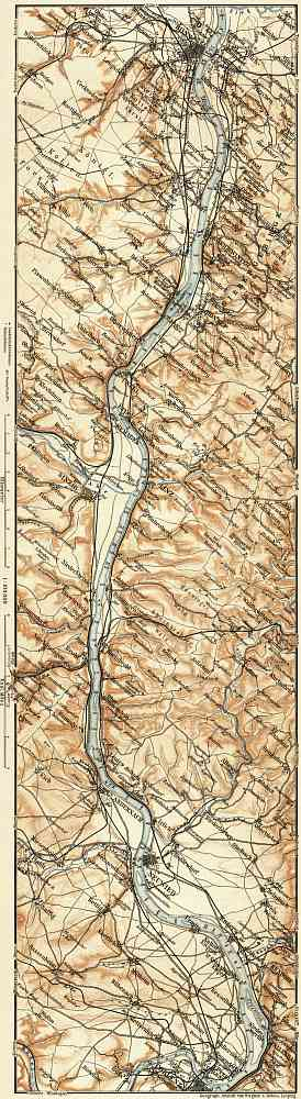 Map of the Course of the Rhine from Bonn to Coblenz, 1905
