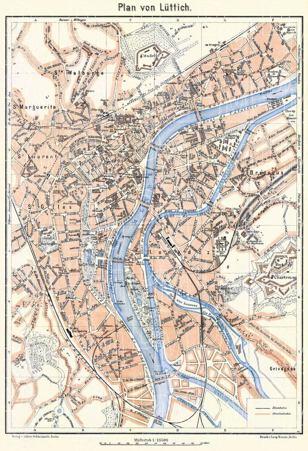 Liège (Lüttich) city map, 1908. Use the zooming tool to explore in higher level of detail. Obtain as a quality print or high resolution image