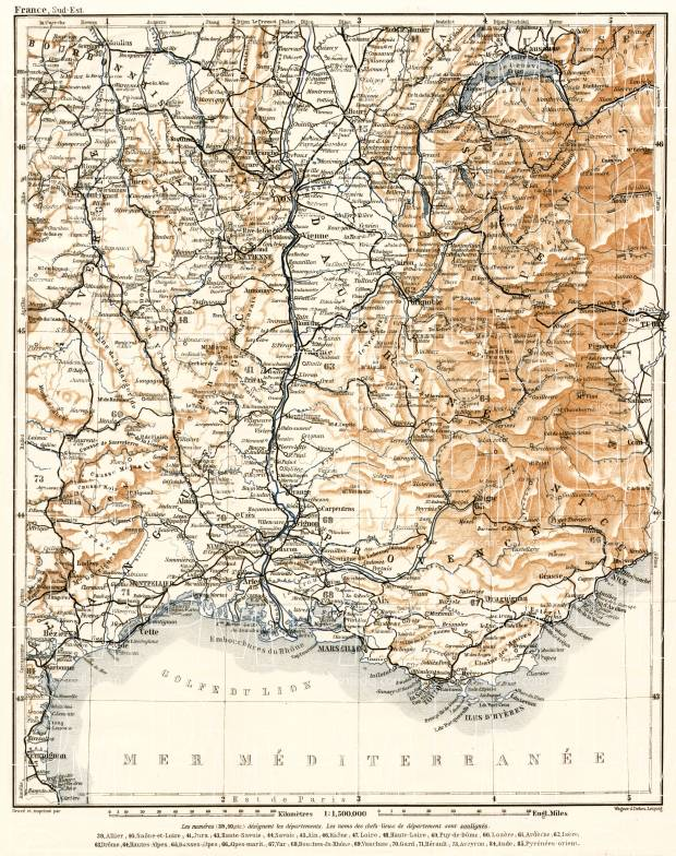 France, southeastern part map, 1902. Use the zooming tool to explore in higher level of detail. Obtain as a quality print or high resolution image