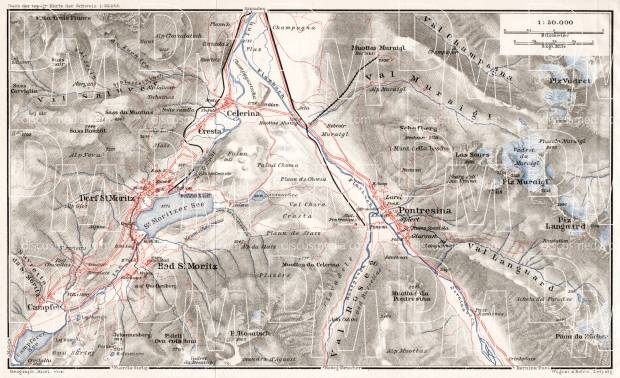 St. Moritz and Pontresina environs map, 1909. Use the zooming tool to explore in higher level of detail. Obtain as a quality print or high resolution image