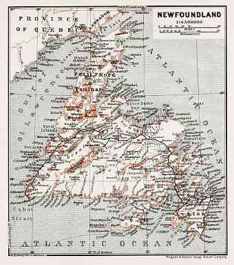 Map of Newfoundland, 1907