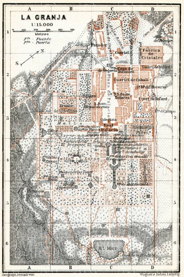 La Granja de San Ildefonso, town and palace park map, 1913. Use the zooming tool to explore in higher level of detail. Obtain as a quality print or high resolution image