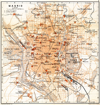 Madrid city map, 1899