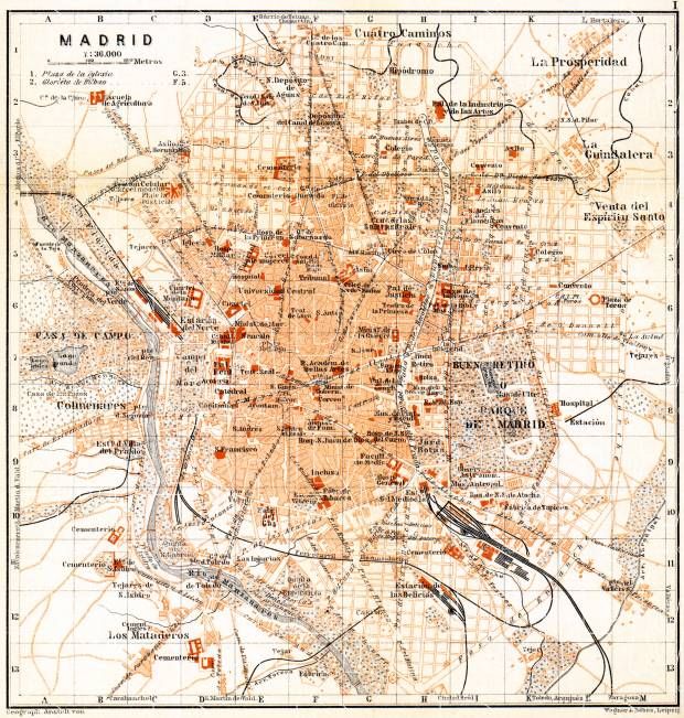 Madrid city map, 1899. Use the zooming tool to explore in higher level of detail. Obtain as a quality print or high resolution image